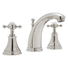 Georgian Three-Hole Basin Mixer with High Neck Spout and Crosstop Handles