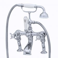 Traditional Deck-Mounted Bath Shower Mixer with Crosstop Handles