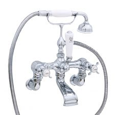 Traditional Wall-Mounted Bath Shower Mixer with Crosstop Handles