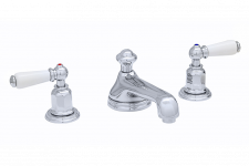 Traditional Three-Hole Basin Set with Low Profile Spout and Lever Handles