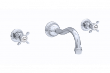 Traditional Three-Hole Wall-Mounted Basin Set with Crosstop Handles