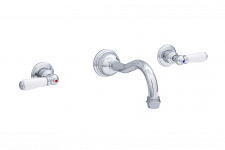 Traditional Three-Hole Wall-Mounted Basin Set with Lever Handles