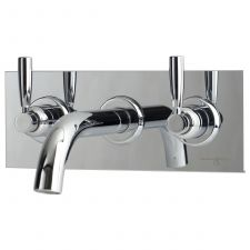 Contemporary Three-Hole Wall-Mounted Bath Set with Lever Handles on Back Plate